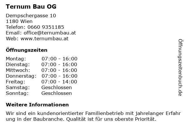 Ternum Bau OG in Wien: Adresse und Öffnungszeiten