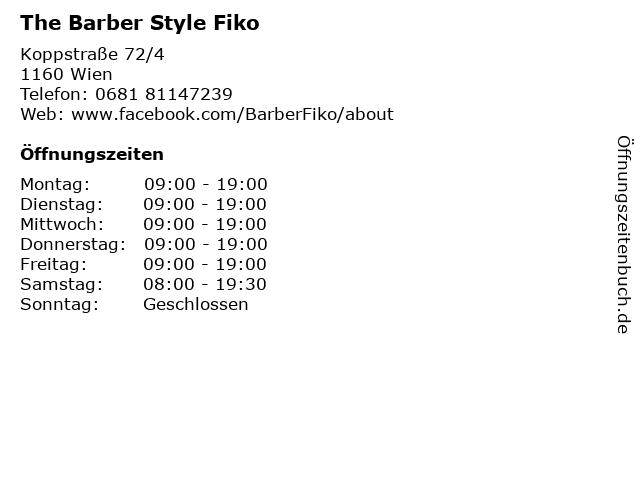 The Barber Style Fiko in Wien: Adresse und Öffnungszeiten