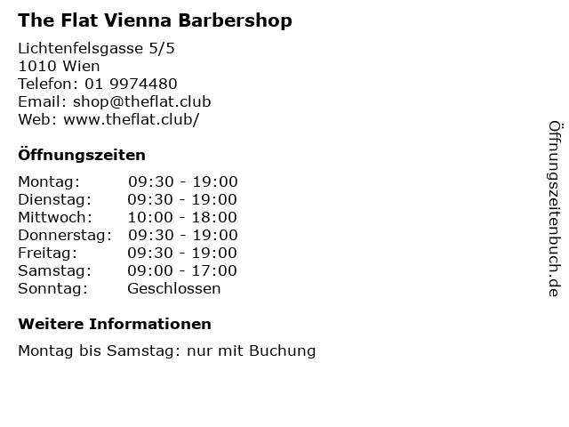 The Flat Vienna Barbershop in Wien: Adresse und Öffnungszeiten