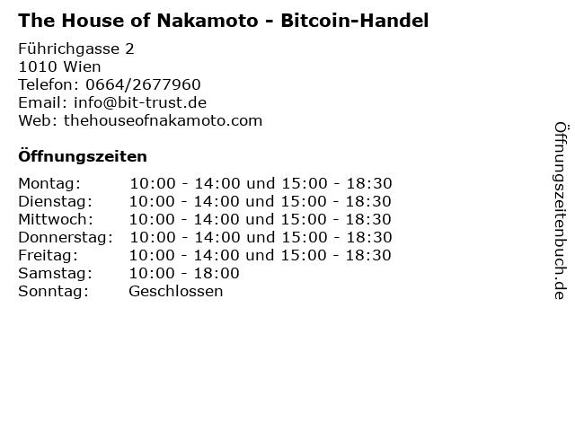 The House of Nakamoto - Bitcoin-Handel in Wien: Adresse und Öffnungszeiten