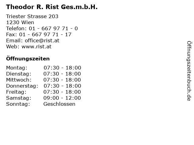 Theodor R. Rist Ges.m.b.H. in Wien: Adresse und Öffnungszeiten