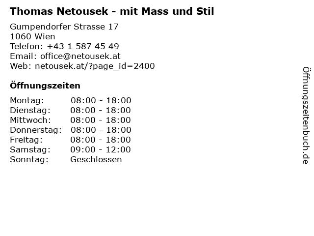 Thomas Netousek - mit Mass und Stil in Wien: Adresse und Öffnungszeiten
