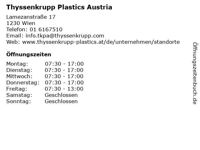 Thyssenkrupp Plastics Austria in Wien: Adresse und Öffnungszeiten