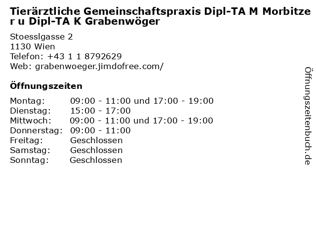 Tierärztliche Gemeinschaftspraxis Dipl-TA M Morbitzer u Dipl-TA K Grabenwöger in Wien: Adresse und Öffnungszeiten