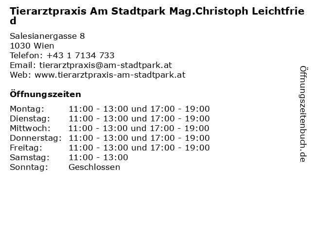 Tierarztpraxis Am Stadtpark Mag.Christoph Leichtfried in Wien: Adresse und Öffnungszeiten