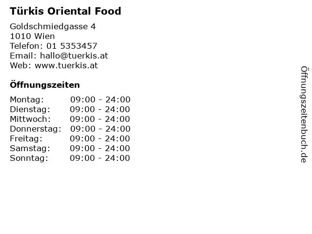 Türkis Oriental Food in Wien: Adresse und Öffnungszeiten