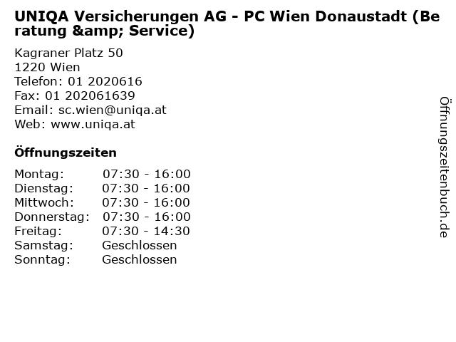 UNIQA Versicherungen AG - PC Wien Donaustadt (Beratung & Service) in Wien: Adresse und Öffnungszeiten