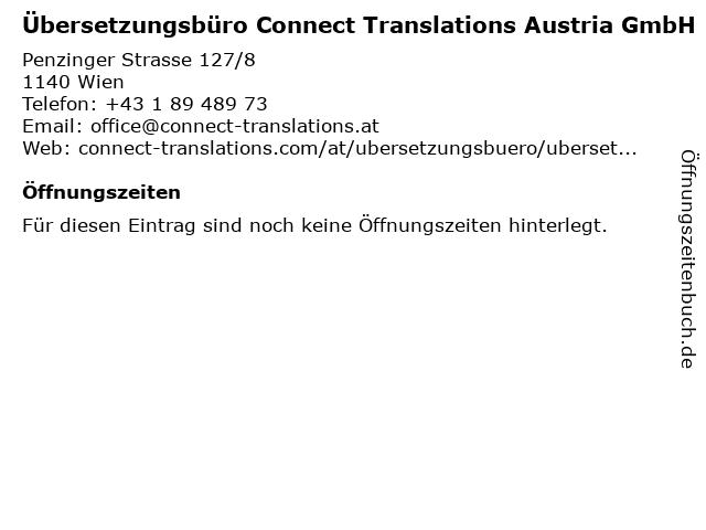 Übersetzungsbüro Connect Translations Austria in Wien: Adresse und Öffnungszeiten