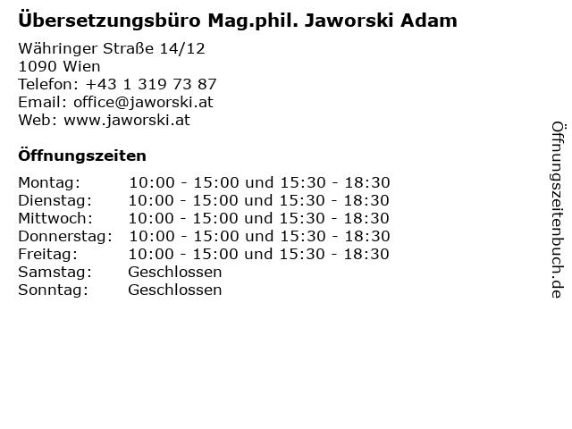 Mag.phil. Jaworski Adam in Wien: Adresse und Öffnungszeiten