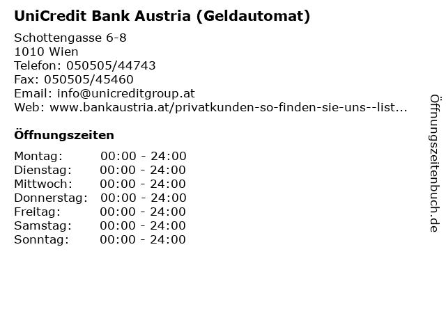 UniCredit Bank Austria (Geldautomat) in Wien: Adresse und Öffnungszeiten