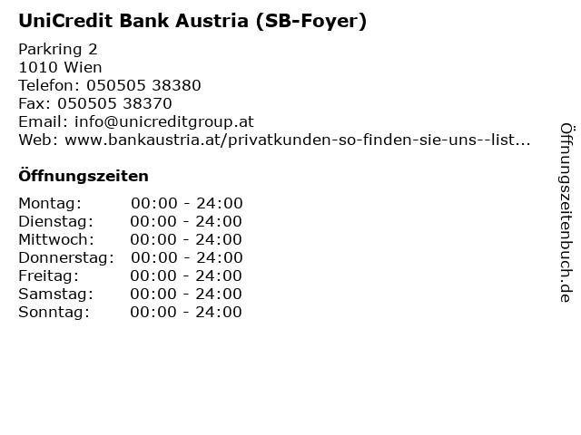 UniCredit Bank Austria (SB-Foyer) in Wien: Adresse und Öffnungszeiten