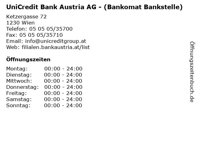 ᐅ öffnungszeiten Unicredit Bank Austria Ag Bankomat Bankstelle