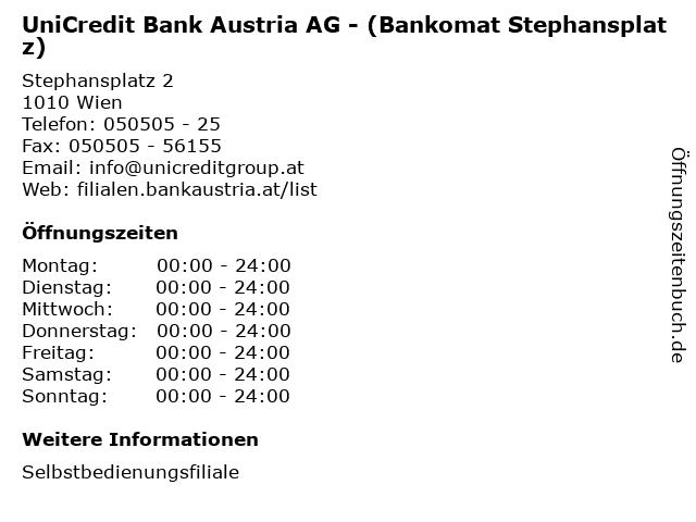 UniCredit Bank Austria AG - (Bankomat Stephansplatz) in Wien: Adresse und Öffnungszeiten