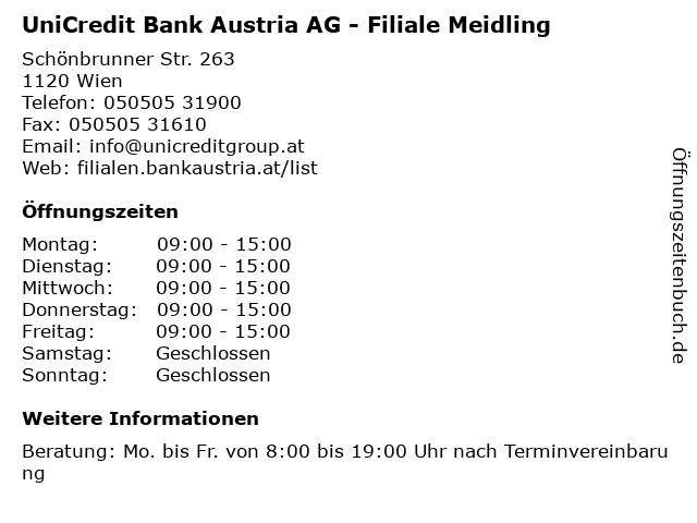 ᐅ öffnungszeiten Unicredit Bank Austria Ag Filiale Meidling