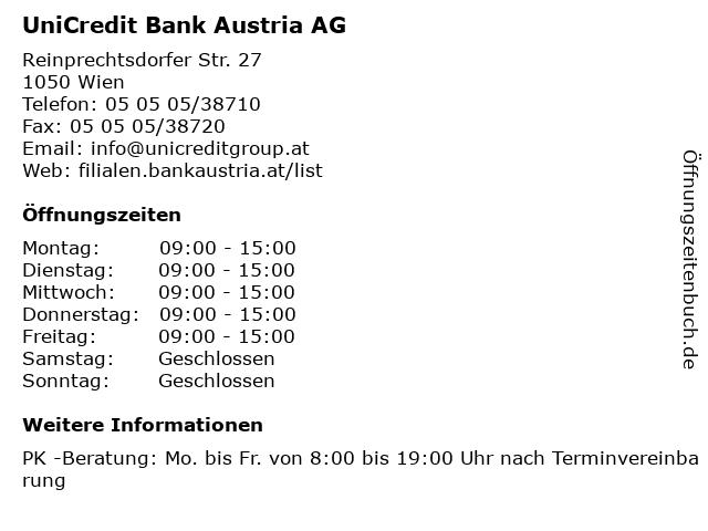 ᐅ öffnungszeiten Unicredit Bank Austria Ag Filiale