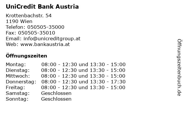 UniCredit Bank Austria in Wien: Adresse und Öffnungszeiten
