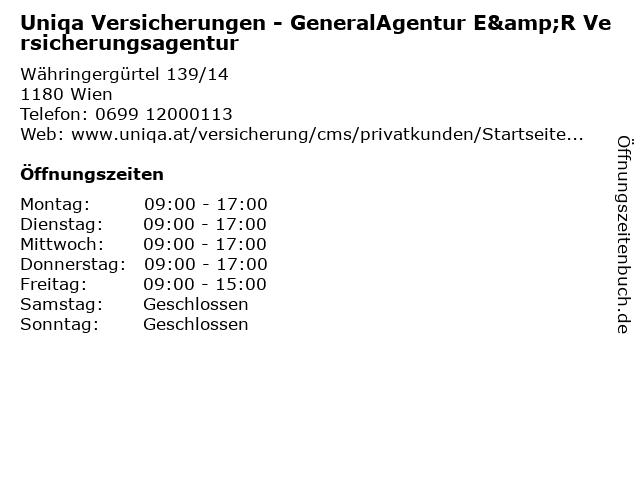 Uniqa Versicherungen - GeneralAgentur E&R Versicherungsagentur in Wien: Adresse und Öffnungszeiten