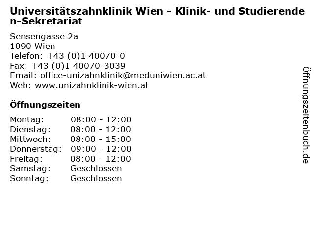 Universitätszahnklinik Wien - Klinik- und Studierenden-Sekretariat in Wien: Adresse und Öffnungszeiten