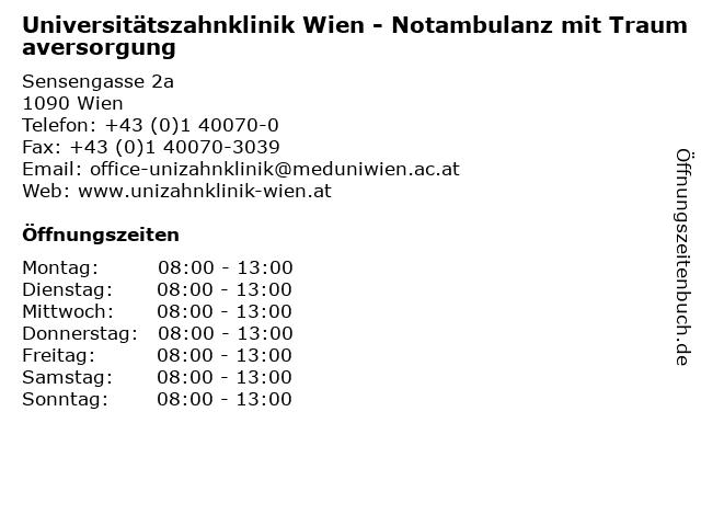 Universitätszahnklinik Wien - Notambulanz mit Traumaversorgung in Wien: Adresse und Öffnungszeiten
