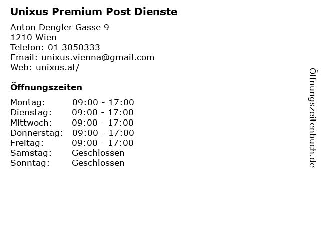 Unixus Premium Post Dienste in Wien: Adresse und Öffnungszeiten