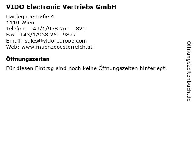 VIDO Electronic Vertriebs GmbH in Wien: Adresse und Öffnungszeiten
