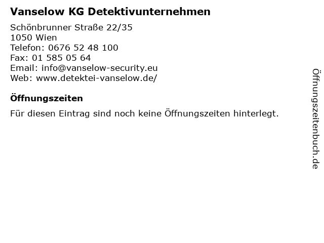 Vanselow KG Detektivunternehmen in Wien: Adresse und Öffnungszeiten