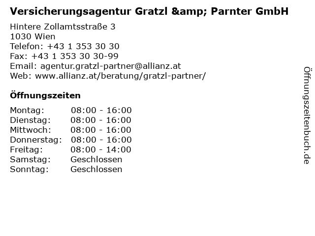 Versicherungsagentur Gratzl & Parnter GmbH in Wien: Adresse und Öffnungszeiten