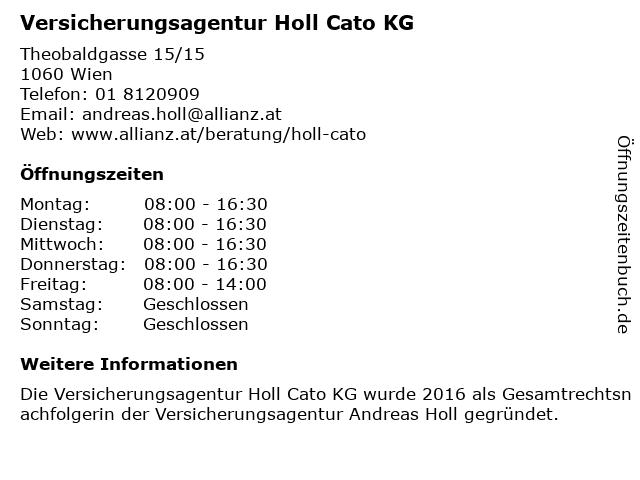 Versicherungsagentur Holl Cato KG in Wien: Adresse und Öffnungszeiten