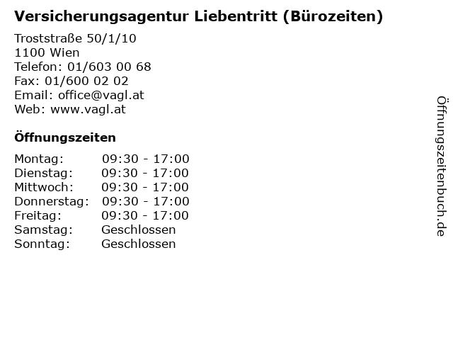 Versicherungsagentur Liebentritt (Bürozeiten) in Wien: Adresse und Öffnungszeiten
