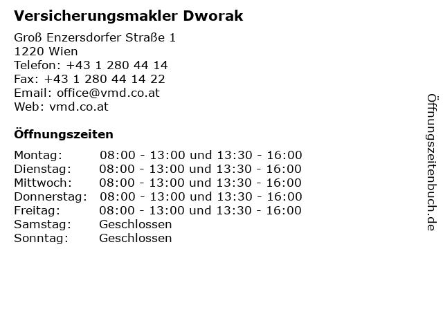 Versicherungsmakler Dworak in Wien: Adresse und Öffnungszeiten