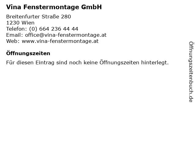Vina Fenstermontage GmbH in Wien: Adresse und Öffnungszeiten