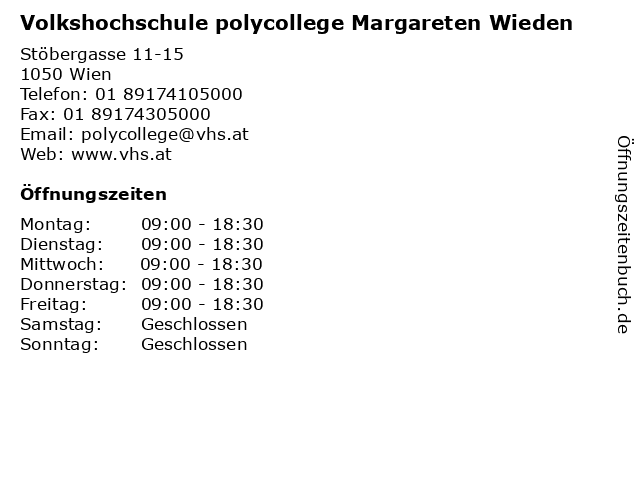 Volkshochschule polycollege Margareten Wieden in Wien: Adresse und Öffnungszeiten