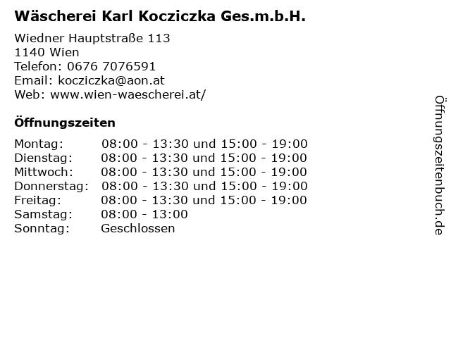 Wäscherei Karl Kocziczka Ges.m.b.H. in Wien: Adresse und Öffnungszeiten