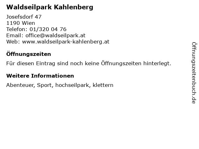 ᐅ öffnungszeiten Waldseilpark Kahlenberg Josefsdorf 47 In Wien