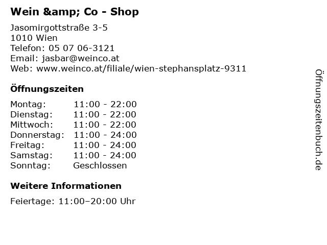 Wein & Co - Shop in Wien: Adresse und Öffnungszeiten