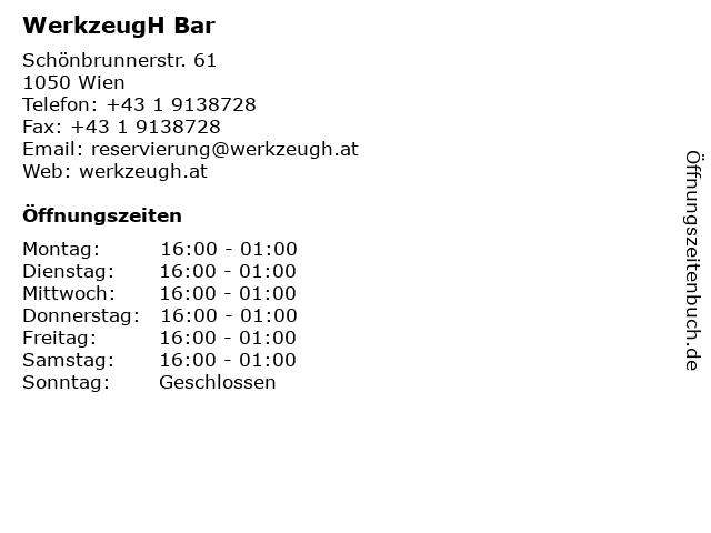 WerkzeugH Bar in Wien: Adresse und Öffnungszeiten
