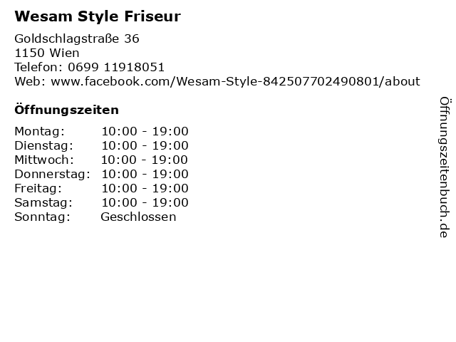 Wesam Style Friseur in Wien: Adresse und Öffnungszeiten
