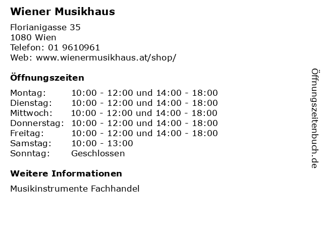 Wiener Musikhaus in Wien: Adresse und Öffnungszeiten