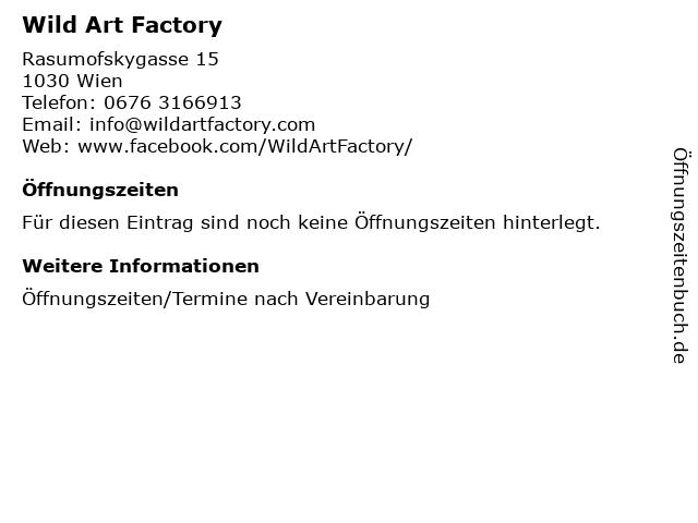 Wild Art Factory in Wien: Adresse und Öffnungszeiten
