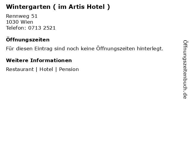 Wintergarten ( im Artis Hotel ) in Wien: Adresse und Öffnungszeiten