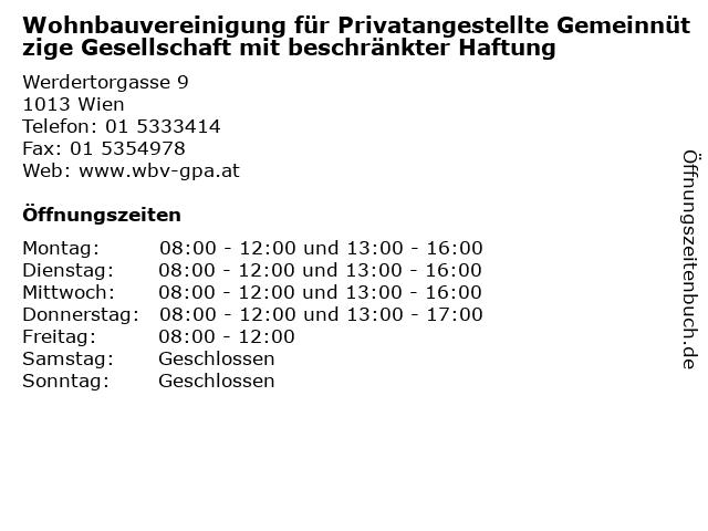 Wohnbauvereinigung für Privatangestellte Gemeinnützige Gesellschaft mit beschränkter Haftung in Wien: Adresse und Öffnungszeiten