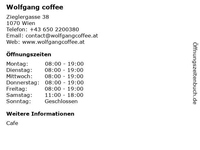 Wolfgang coffee in Wien: Adresse und Öffnungszeiten