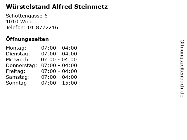 Würstelstand Alfred Steinmetz in Wien: Adresse und Öffnungszeiten