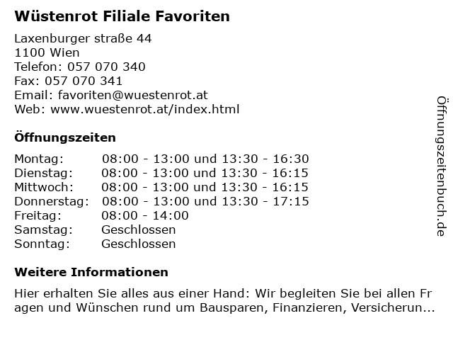 Wüstenrot Filiale Favoriten in Wien: Adresse und Öffnungszeiten