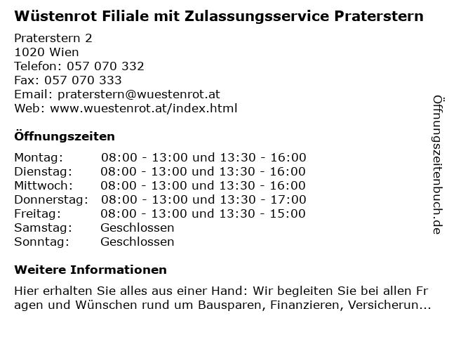 Wüstenrot Filiale mit Zulassungsservice Praterstern in Wien: Adresse und Öffnungszeiten