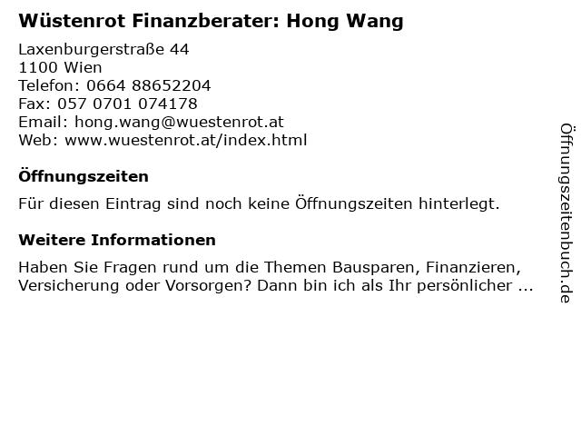 Wüstenrot Finanzberater: Hong Wang in Wien: Adresse und Öffnungszeiten