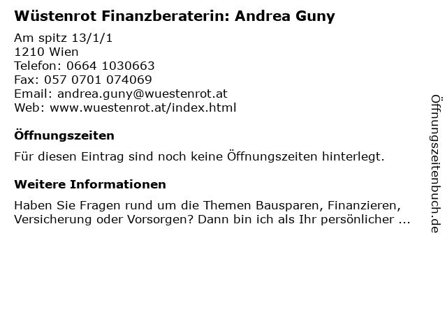 Wüstenrot Finanzberaterin: Andrea Guny in Wien: Adresse und Öffnungszeiten