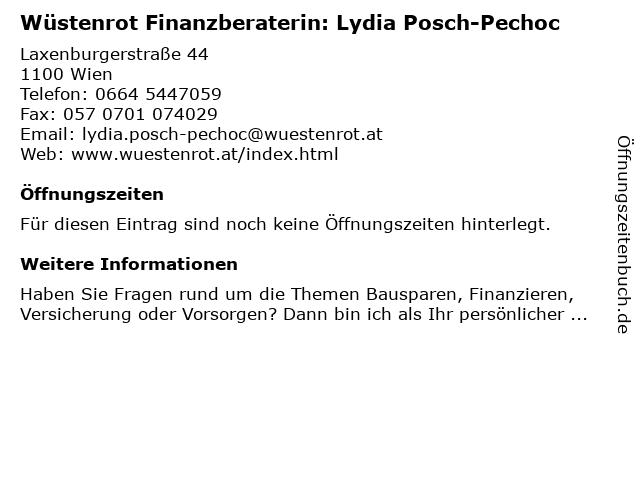 Wüstenrot Finanzberaterin: Lydia Posch-Pechoc in Wien: Adresse und Öffnungszeiten
