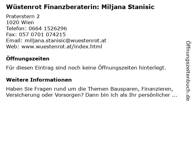 Wüstenrot Finanzberaterin: Miljana Stanisic in Wien: Adresse und Öffnungszeiten