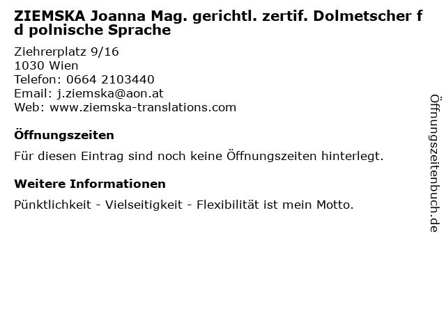 ZIEMSKA Joanna Mag. gerichtl. zertif. Dolmetscher f d polnische Sprache in Wien: Adresse und Öffnungszeiten